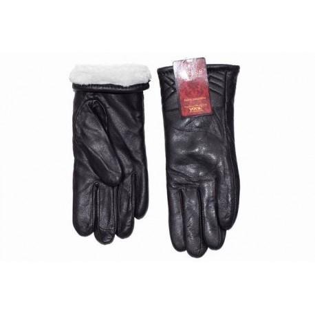 Women's gloves long leather teddy bear