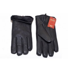Men's leather gloves eco black - long teddy bear