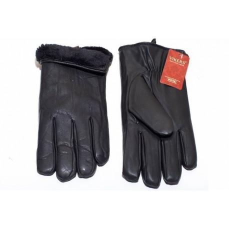 Men's leather gloves eco black - long teddy bear
