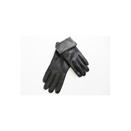 Women's leather gloves thick black