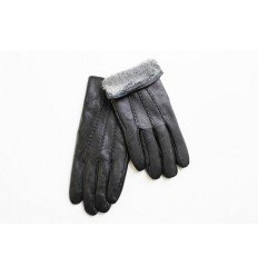 Men's leather gloves thicker - black