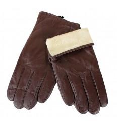 Rękawiczki męskie skórzane brązowe M6